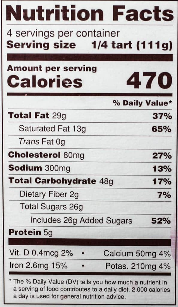 Trader Joe's Chocolate Pecan Pie Bar nutritional information