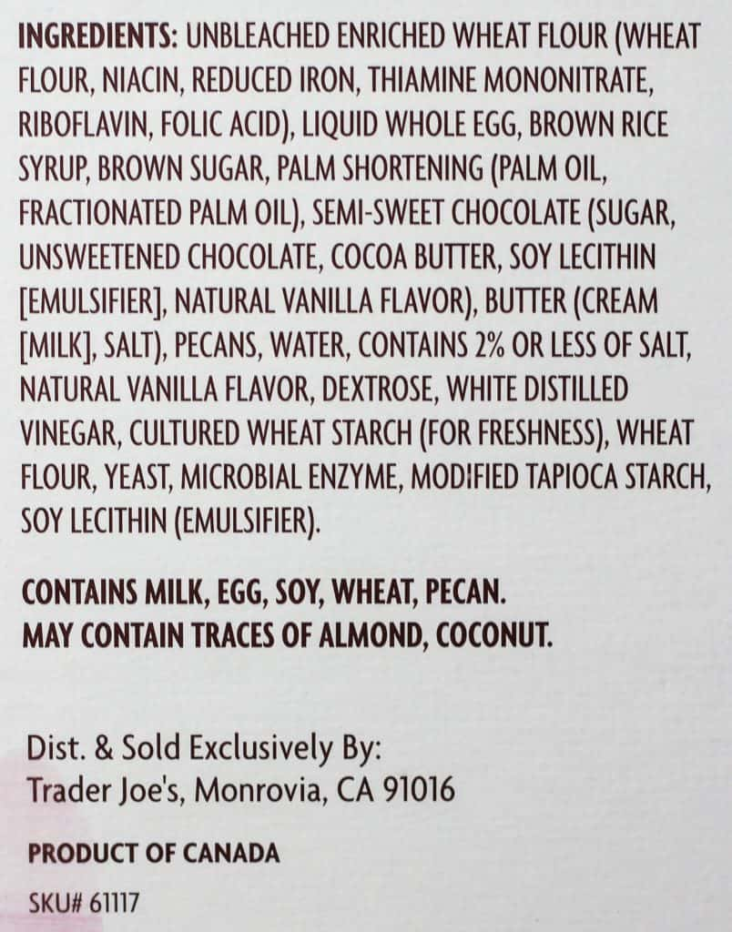 Trader Joe's Chocolate Pecan Pie Bar ingredients