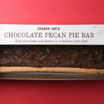 An unopened box of Trader Joe's Chocolate Pecan Pie Bar box
