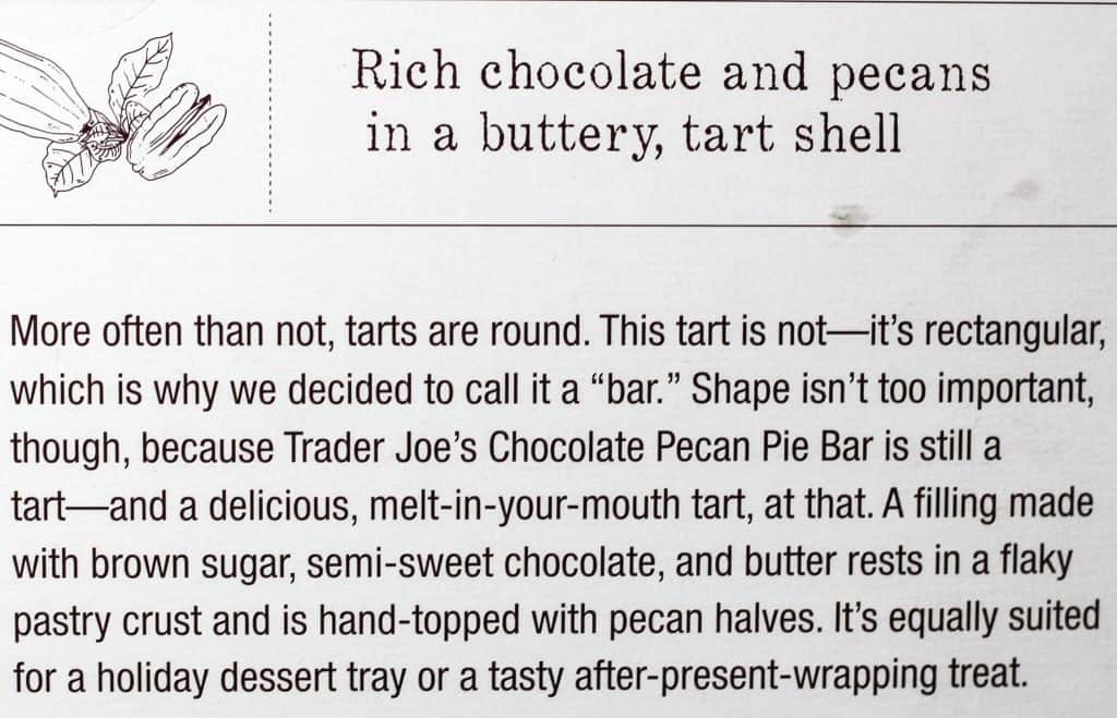 Trader Joe's Chocolate Pecan Pie Bar description