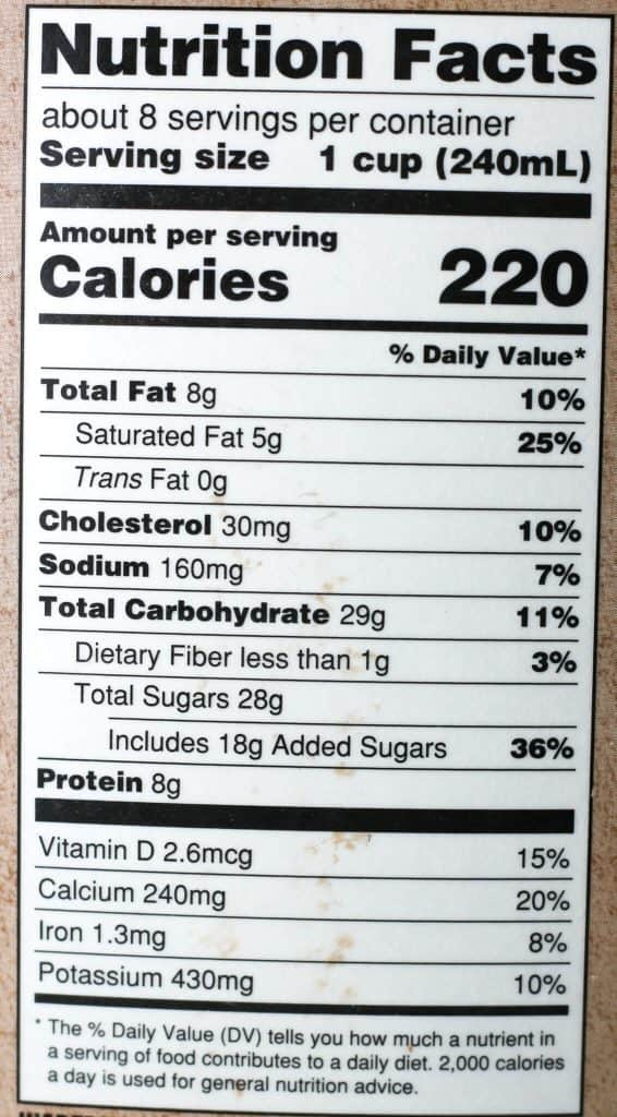 Trader Joe's Chocolate Whole Milk nutritional information
