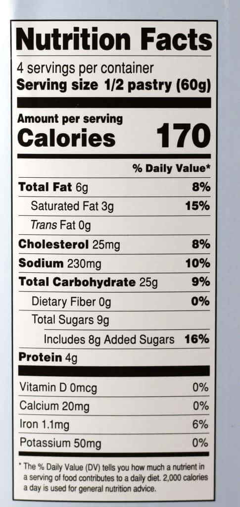 Trader Joe's Cream Cheese Brioche Pastries nutritional information