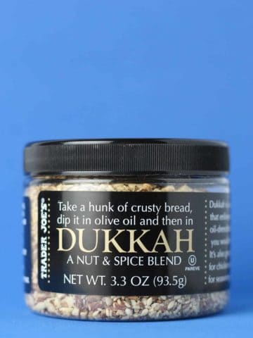 An unopened jar Trader Joe's Dukkah jar