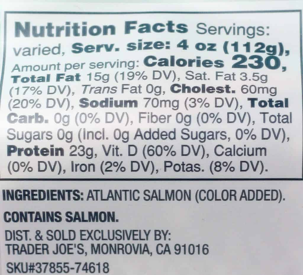 Trader Joe's Fresh Atlantic Salmon nutritional and ingredient information