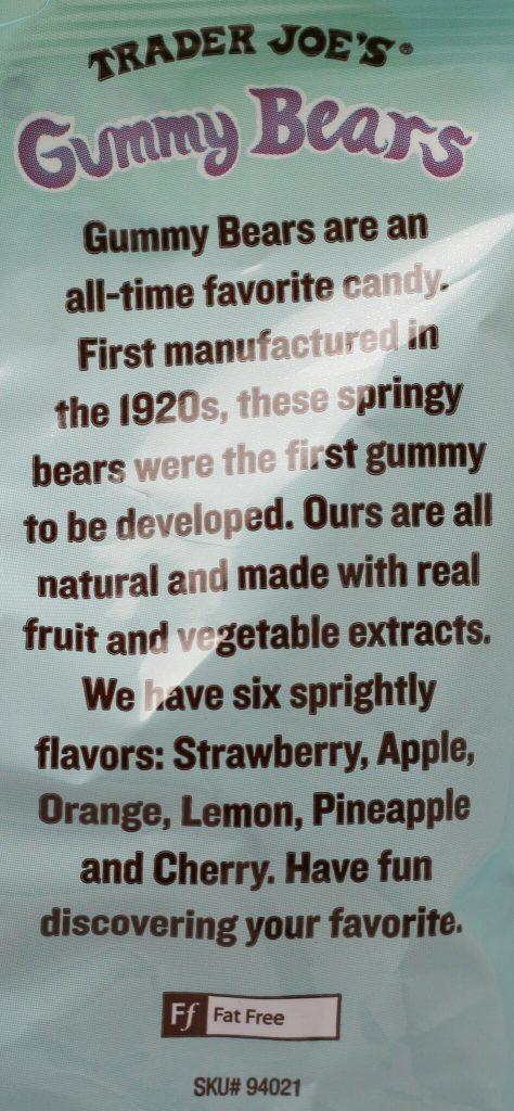 Trader Joe's Gummy Bears description