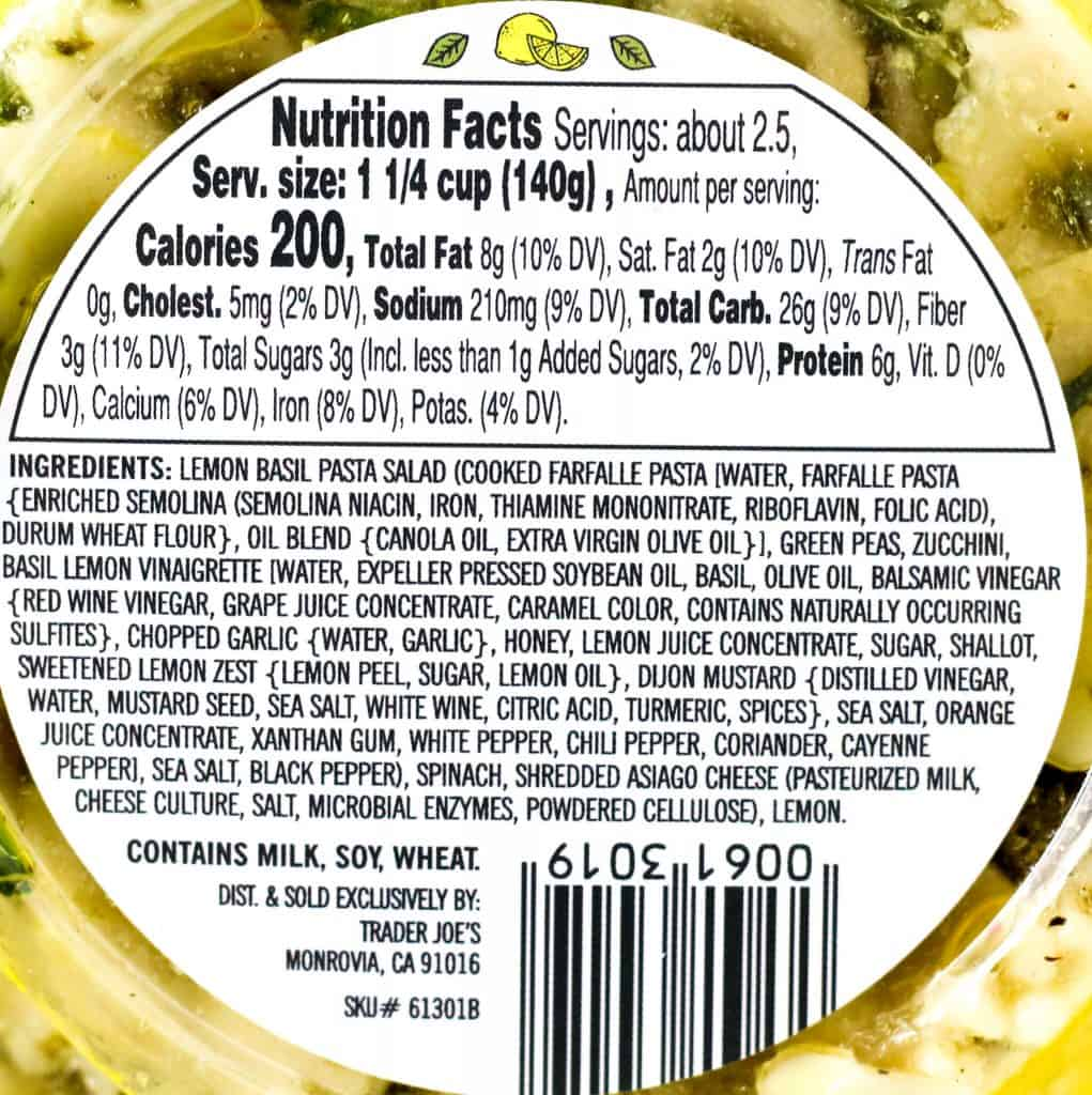 Trader Joe's Lemon Basil Pasta Salad nutritional and ingredient information