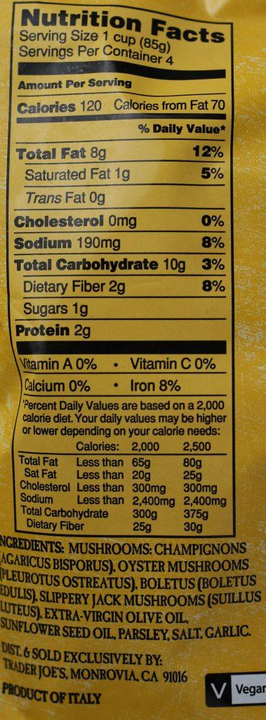 Trader Joe's Mushroom Medley nutritional information and ingredients
