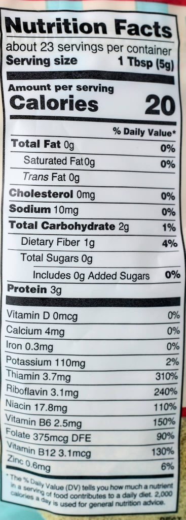 Trader Joe's Nutritional Yeast nutritional information