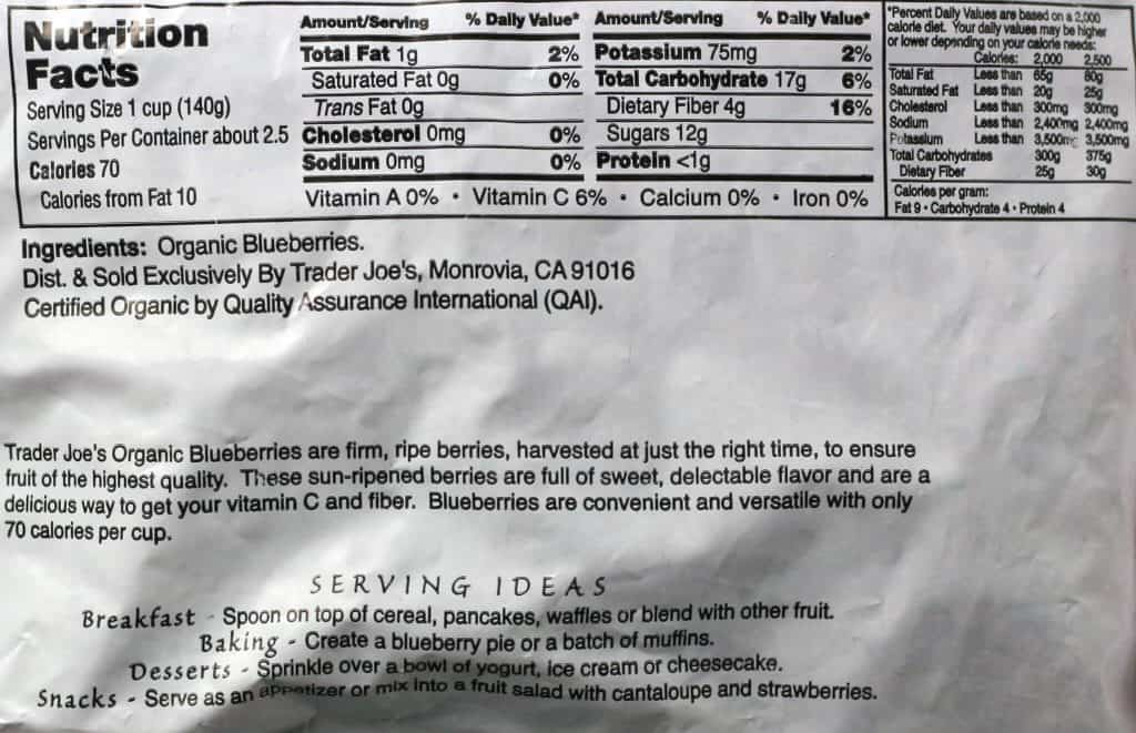 Trader Joe's Organic Blueberries nutritional and serving suggestions