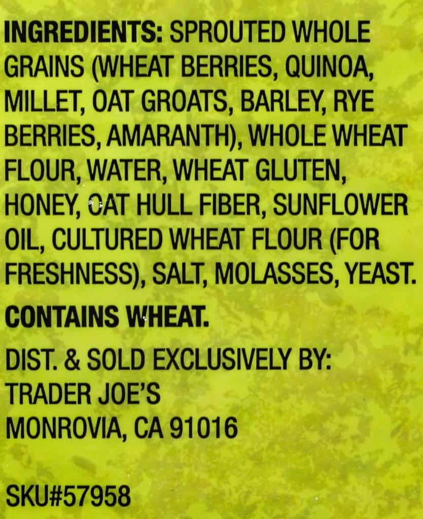 Trader Joe's Sprouted Whole Grain Pizza Crust ingredients