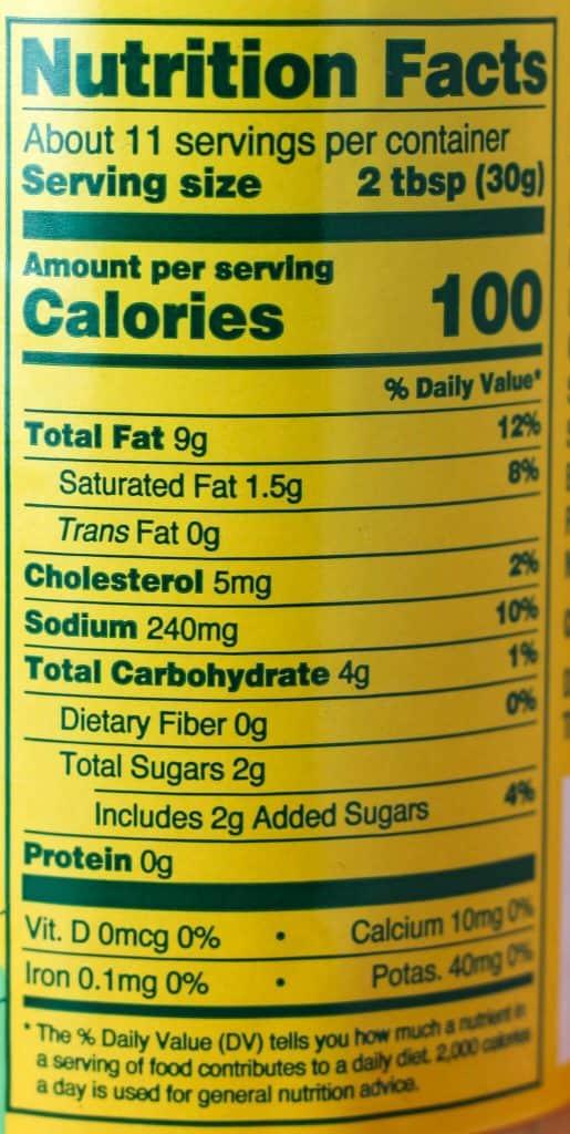 Trader Joe's Thousand Island Dressing nutritional information