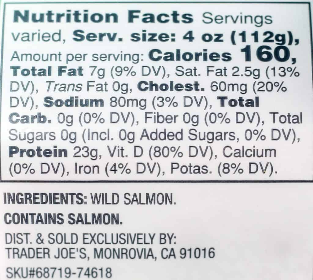 Trader Joe's Wild Alaskan Sockeye Salmon nutritional information and ingredient