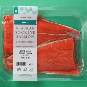 An unopened package of Trader Joe's Wild Alaskan Sockeye Salmon package