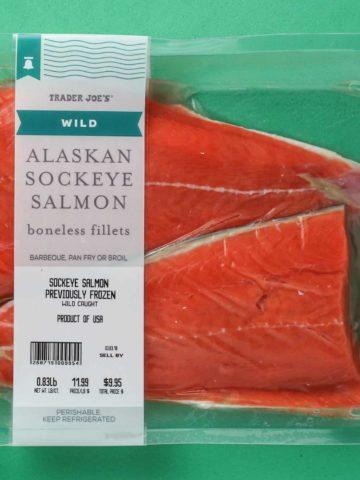 An unopened package of Trader Joe's Wild Alaskan Sockeye Salmon package