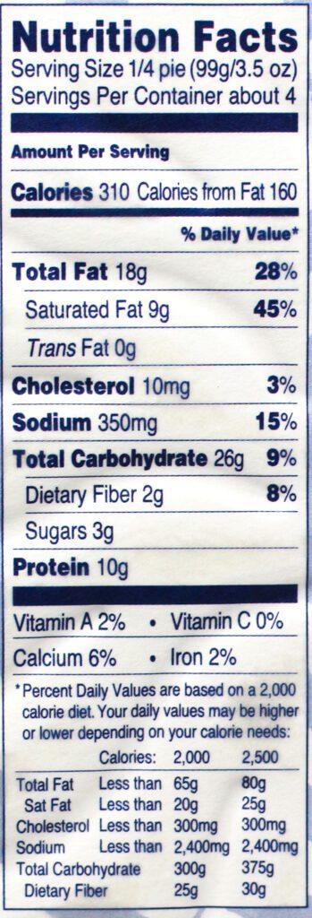 Trader Joe's 5 Cheese Greek Spiral nutritional information