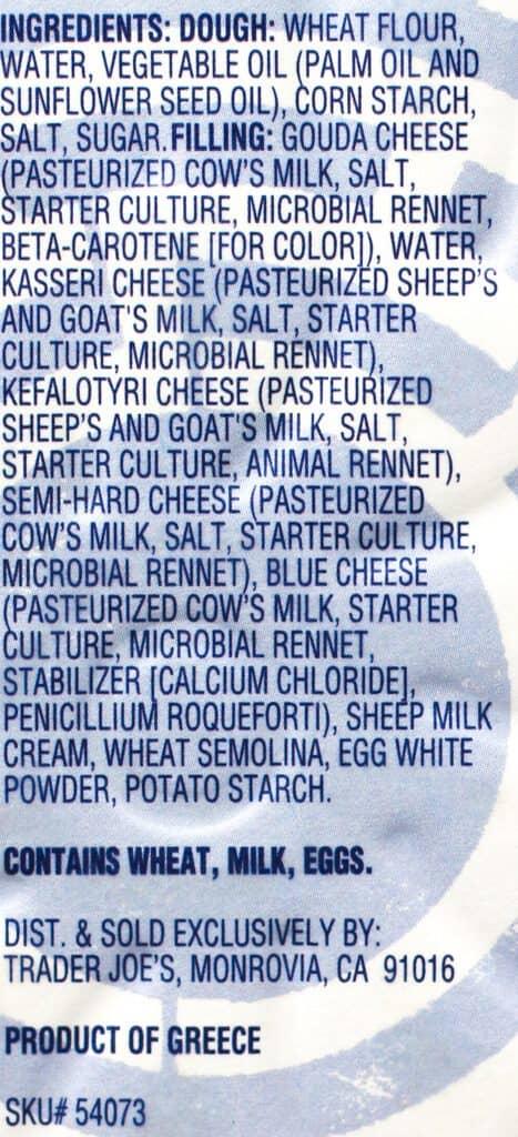 Trader Joe's 5 Cheese Greek Spiral ingredient list