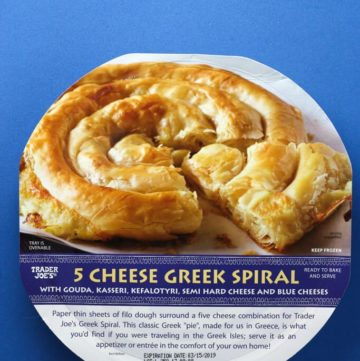 Trader Joe's 5 Cheese Greek Spiral package on a blue background