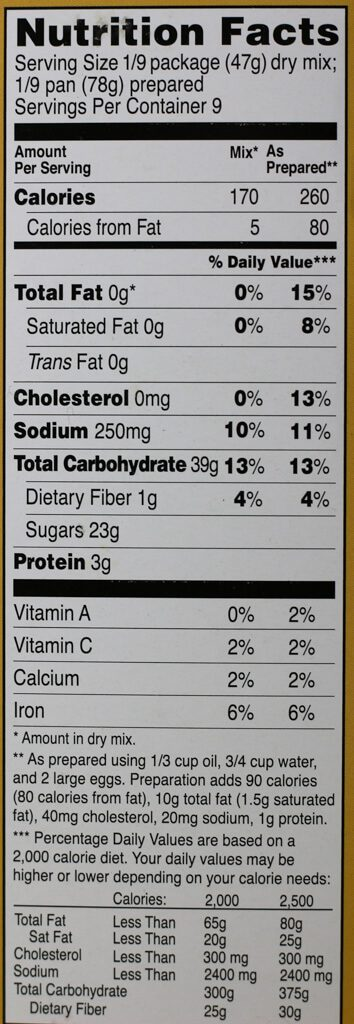 Trader Joe's Banana Bread Mix nutrition facts