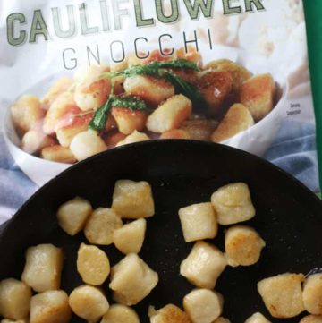 Trader Joe's Cauliflower Gnocchi sauteed in a pan.