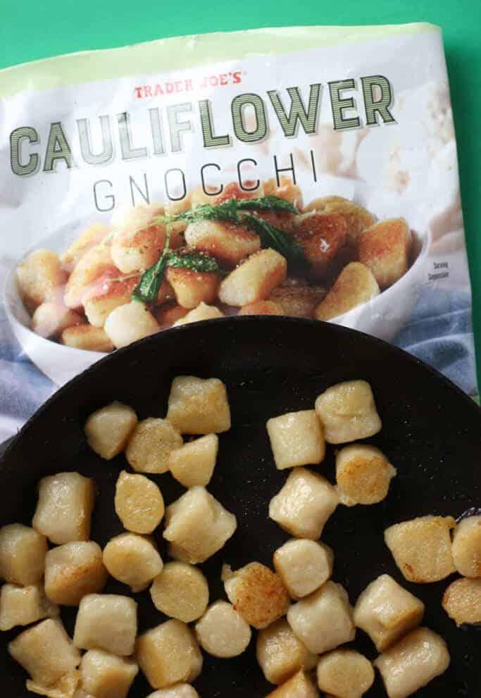 Trader Joe's Cauliflower Gnocchi sauteed in a pan.
