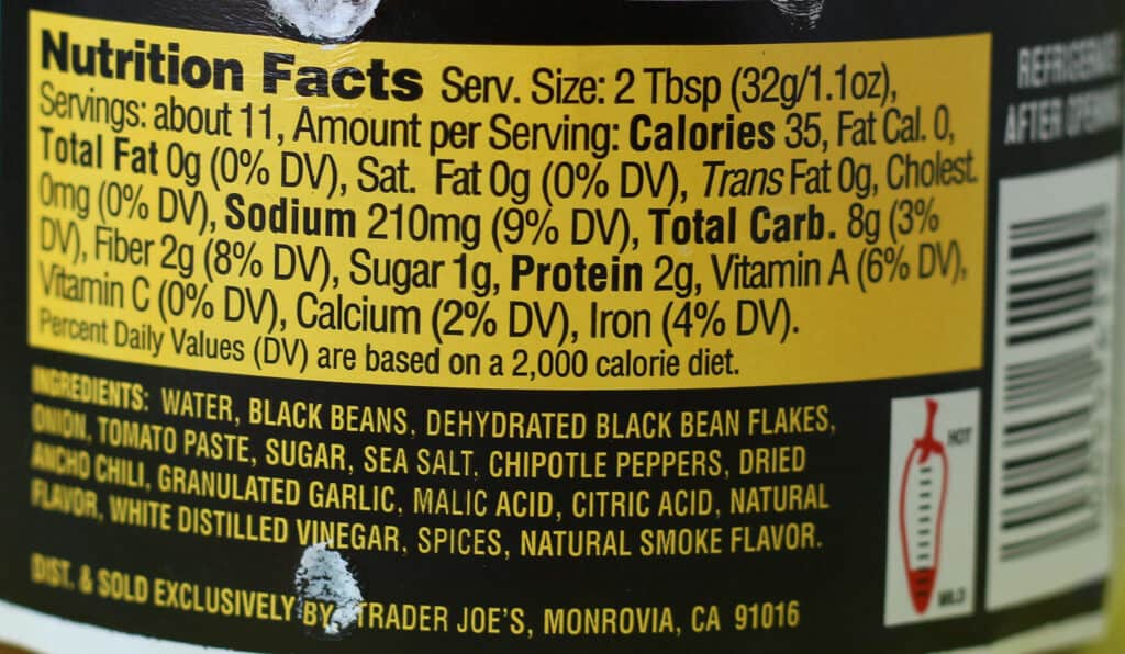 Trader Joe's Chipotle Black Bean Dip nutritional and ingredient information