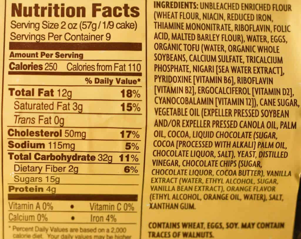Trader Joe's Chocolate Brooklyn Babka nutrition facts and ingredient list