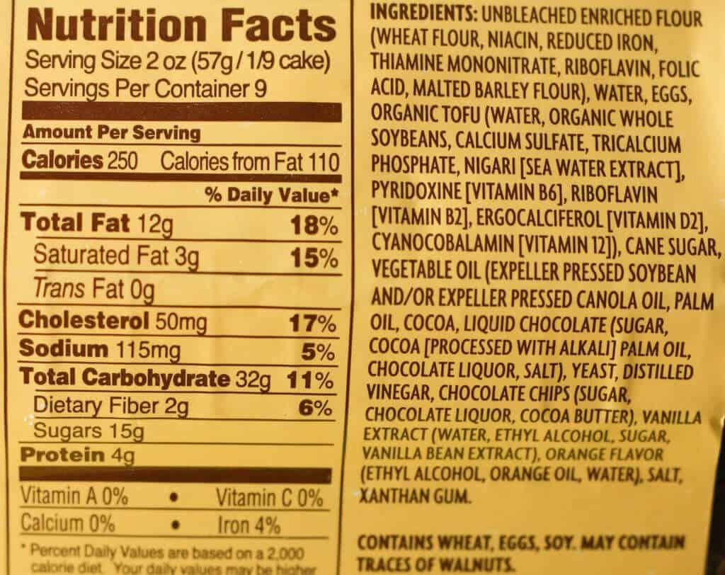 Trader Joe's Chocolate Brooklyn Babka nutrition facts and ingredient list