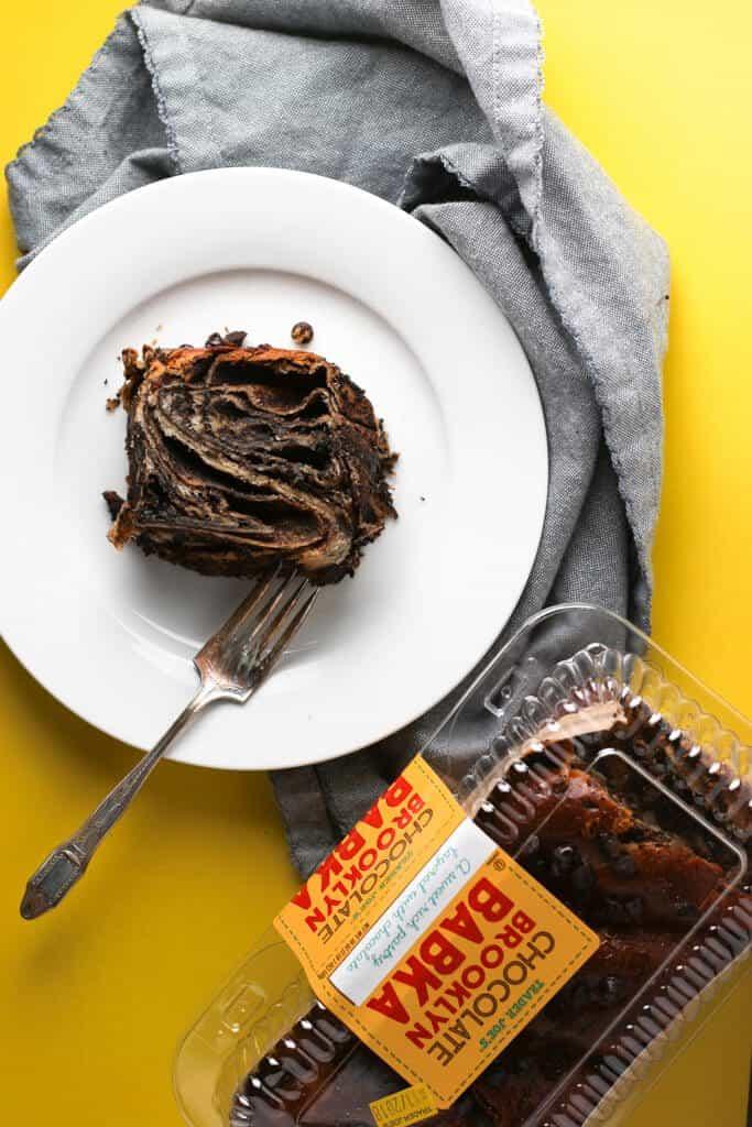Trader Joe's Chocolate Brooklyn Babka plated