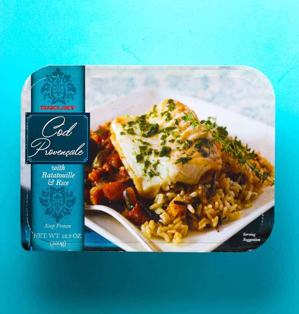 Trader Joe's Cod Provencale package on a blue background