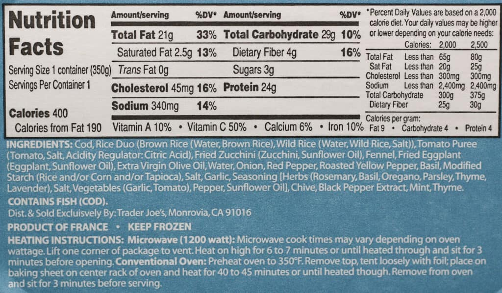 Trader Joe's Cod Provencale nutritional information and ingredients