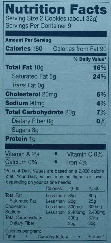 Trader Joe's Cookie Butter Sandwich Cookies nutritional information