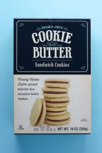 An unopened box of Trader Joe's Cookie Butter Sandwich Cookies box