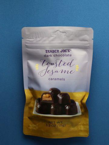 Trader Joe's Dark Chocolate Toasted Sesame Caramels bag