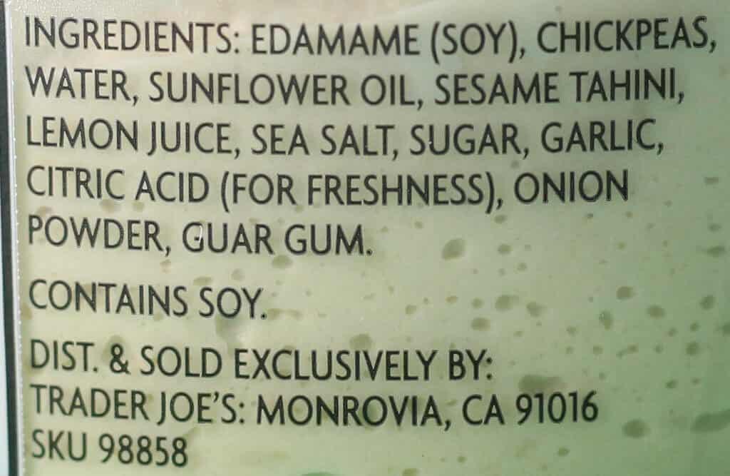 Trader Joe's Edamame Hummus ingredients