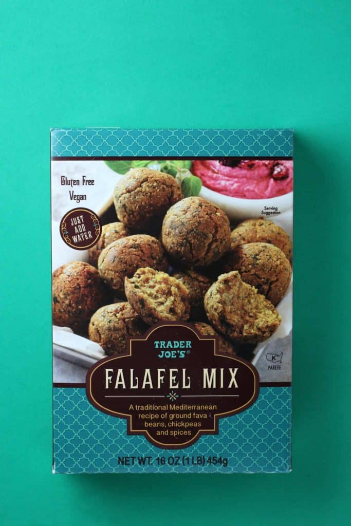 Trader Joe's Falafel Mix on a green background