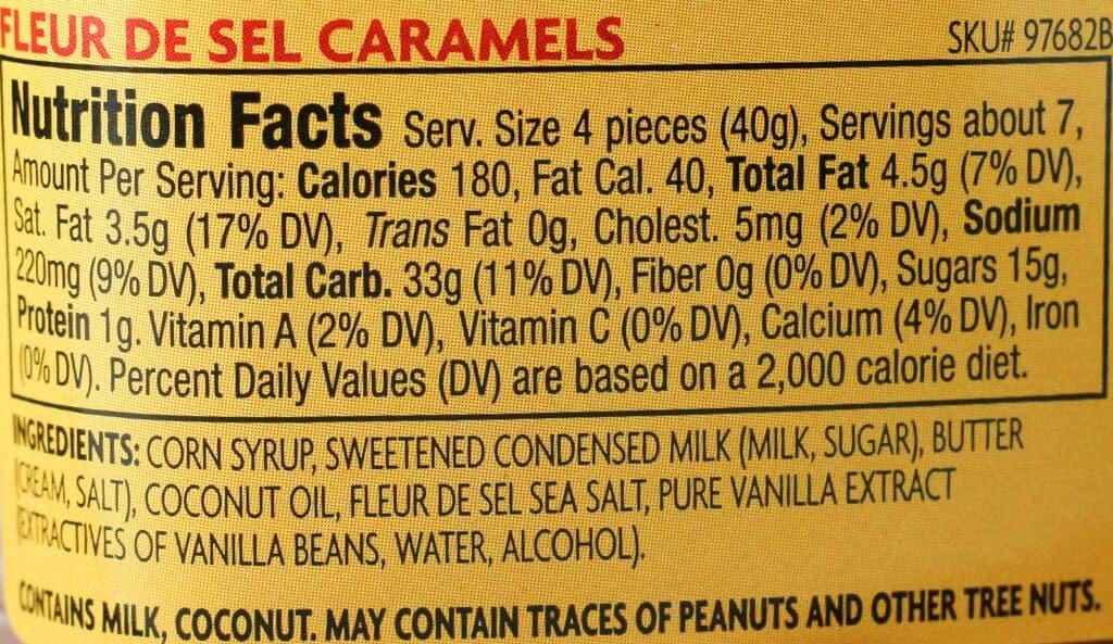 Trader Joe's Fleur De Sel Caramels nutrition facts and ingredients