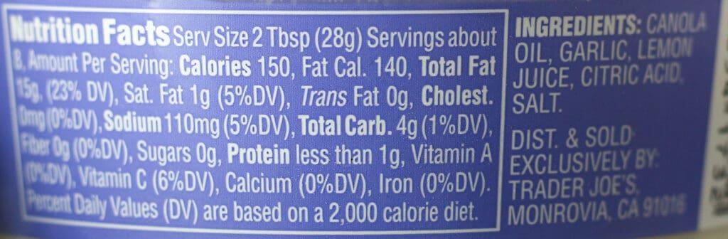 Trader Joe's Garlic Spread Dip nutritional information and ingredients