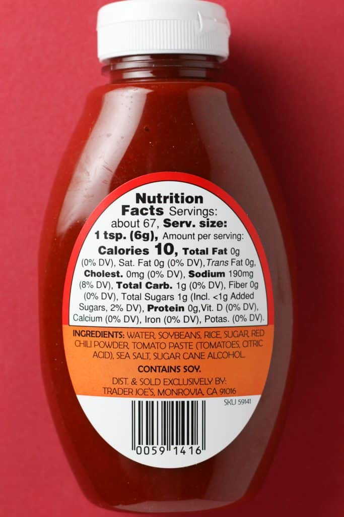 Trader Joe's Gochujang nutritional and ingredient information