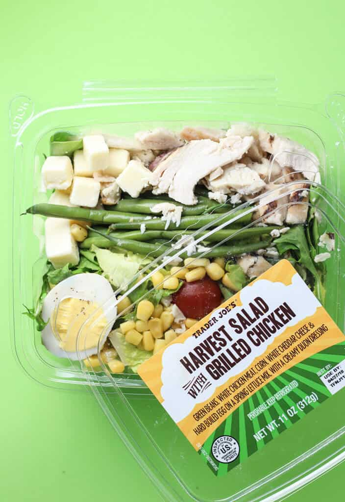 Trader Joe's Harvest Salad with Grilled Chicken opened revealing the contents
