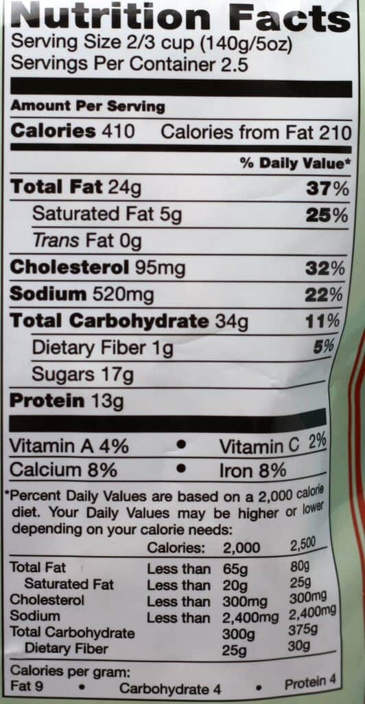 Trader Joe's Honey Walnut Shrimp nutritional information