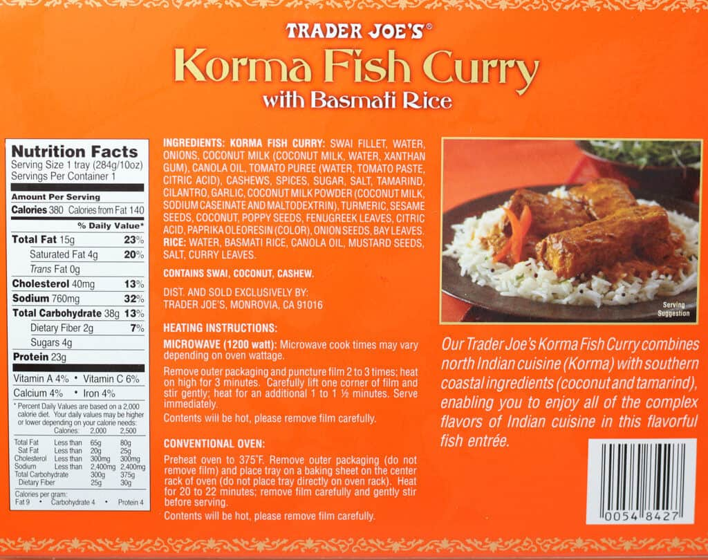 Trader Joe's Korma Fish Curry nutritional information, ingredients, and how to prepare