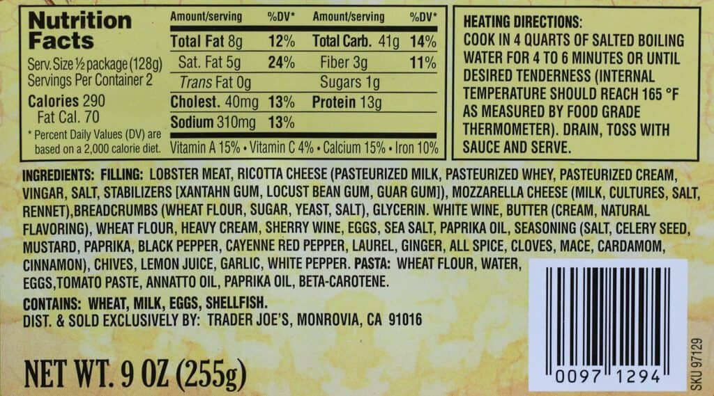 Trader Joe's Lobster Ravioli nutritional information, ingredients and how to prepare.