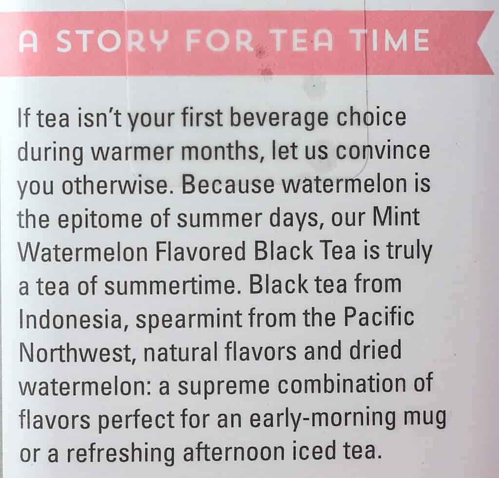 Trader Joe's Mint Watermelon Flavored Black Tea description
