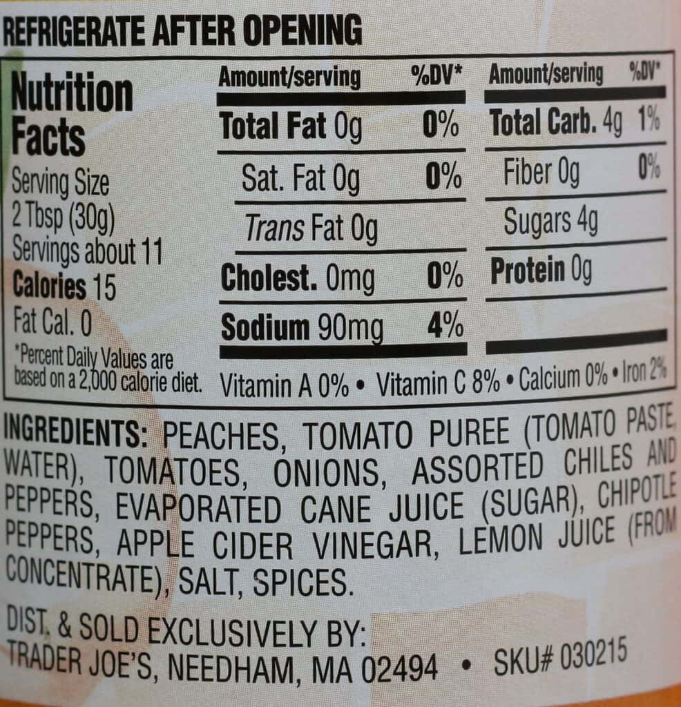 Trader Joe's Peach Salsa ingredients and nutrition facts
