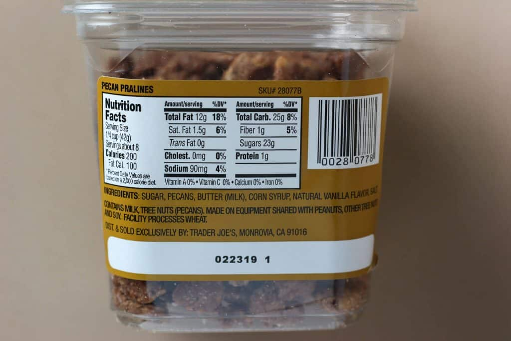 Trader Joe's Pecan Pralines nutritional information and ingredient list