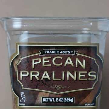 Trader Joe's Pecan Pralines on a tan background