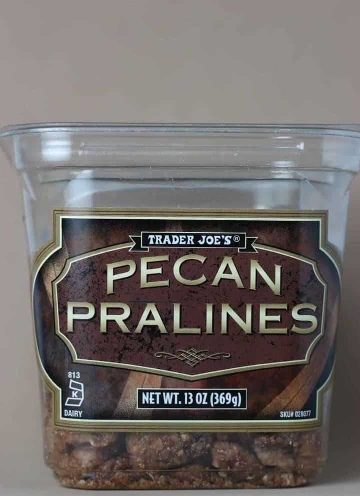 Trader Joe's Pecan Pralines on a tan background