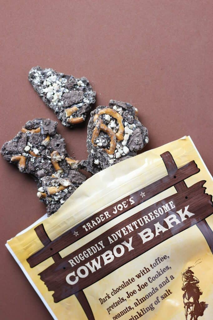 Trader Joe's Ruggedly Adventuresome Cowboy Bark out of the bag and on a brown background