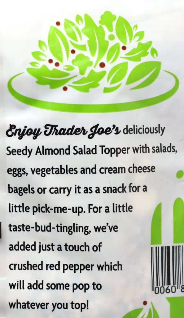 Trader Joe's Seedy Almond Salad Topper description from the package
