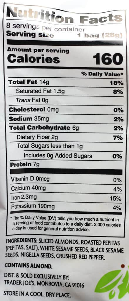 Trader Joe's Seedy Almond Salad Topper nutritional information and ingredients